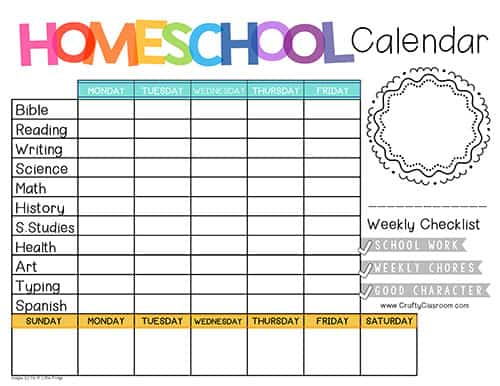 image about Homeschool Calendar Printable referred to as Free of charge Homeschool Planner - The Cunning Clroom